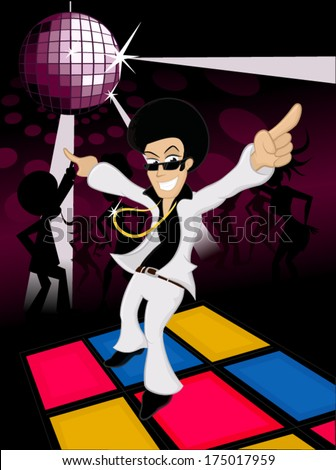 70s male disco dancer dancing on a party - stock vector