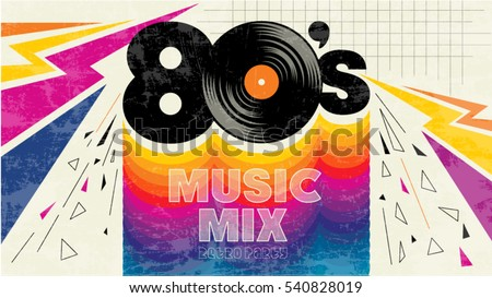 80's music mix. Retro style 80s disco design neon. 80's party, 80 s fashion, 80s background, 80s graphic, 80s style, light disco party 1980, club vintage, dance night. Easy editable for Your design.