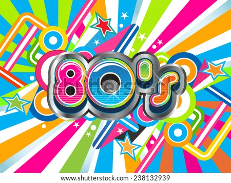 80s Party illustration. Vector design - stock vector