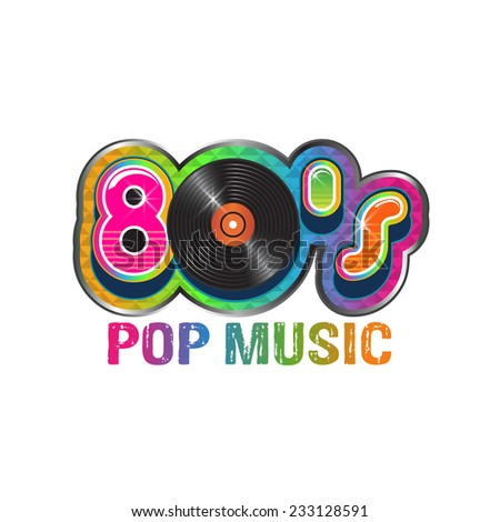 80s pop music vinyl disc. Vector design - stock vector