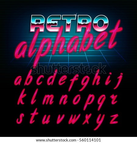 80's retro alphabet font. Glow effect shiny lowercase letters. Vector typeface for flyers, headlines, posters etc.
