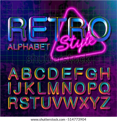 80s Retro Alphabet Font Vintage Vector 90s Old Style Graphic Poster Set