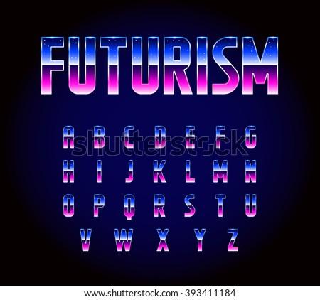 80s Retro Futurism Scifi Font Alphabet Stock Vector 393411184 ...