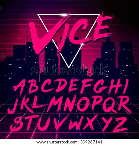 80s Retro Futurism style Font. Vector Brush Stroke Alphabet - stock vector