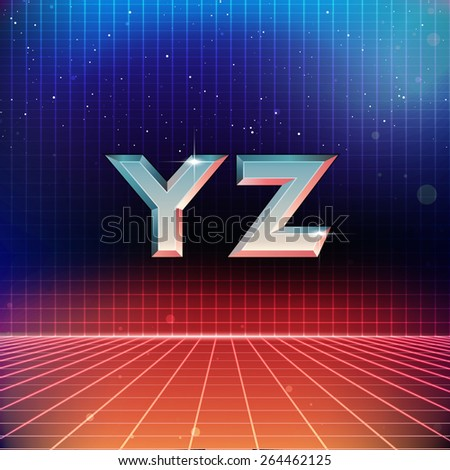 80s Retro Futuristic Font from Y to Z - stock vector
