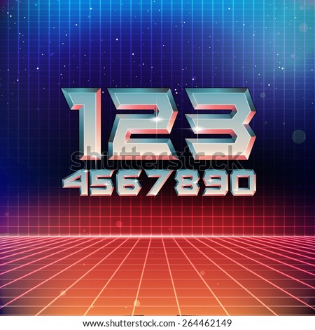 80s Retro Futuristic Numbers - stock vector