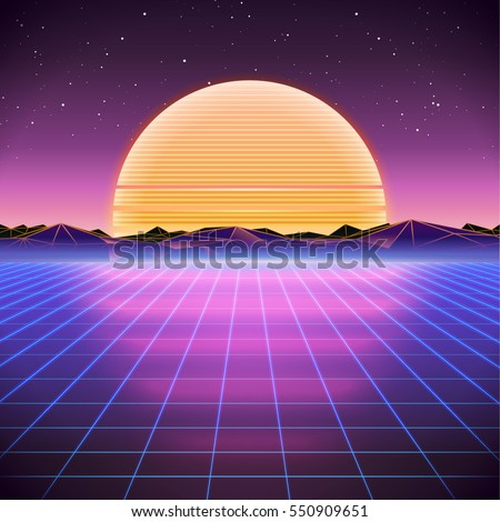 80s Retro Sci-Fi Background with Sunset. Vector retro futuristic synth retro wave illustration in 1980s posters style