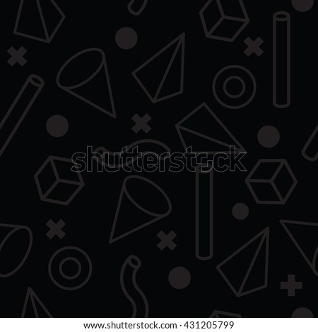 80s retro seamless pattern. 1990 background style. Mathematical pattern of geometric shapes. Vector illustration. Memphis style for fashion