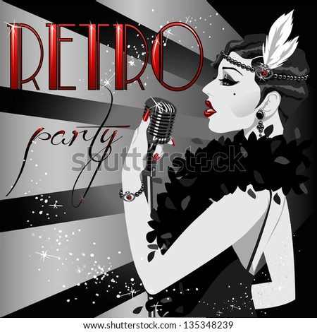20s 30s Party Invitation with abstract singing woman and sample text. Black and White 1920s poster. - stock vector