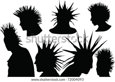 70s-80s punk rock hairstyle, urban culture - stock vector