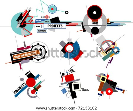 20's-30's USSR constructivism style compositions - stock vector