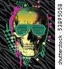 80s Skull - stock vector