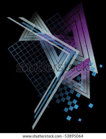 80s Style Abstract Shapes - stock vector