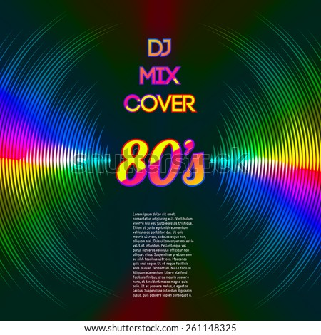 80s style party DJ mix cover with music waveform as a vinyl grooves. - stock vector