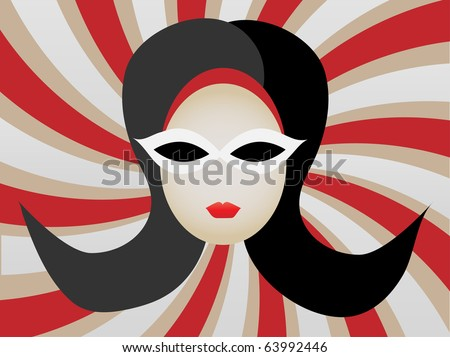 1960s Woman's Head inside Swirl vector illustration - stock vector