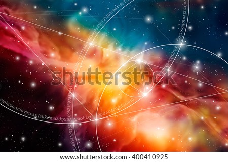Sacred geometry. Mathematics, nature, and spirituality  in space. The formula of nature. There is no beginning and no end of the Universe, and no beginning and no end of the Life and the Bliss. - stock vector