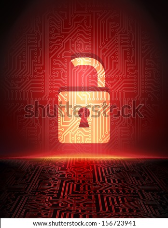 Safety concept: opened padlock in cyber space. Cyber crime abstract background. - stock vector