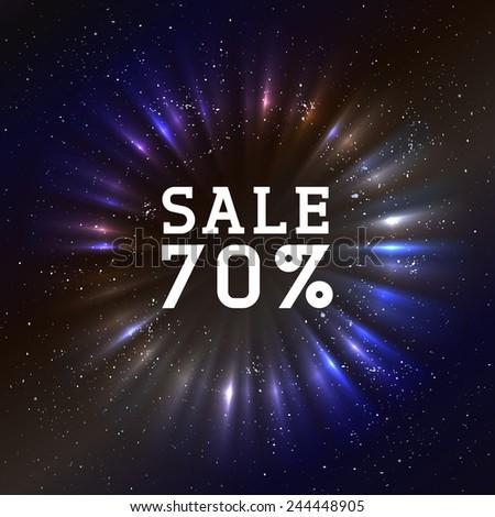 70% Sale Badge on cosmic background - stock vector