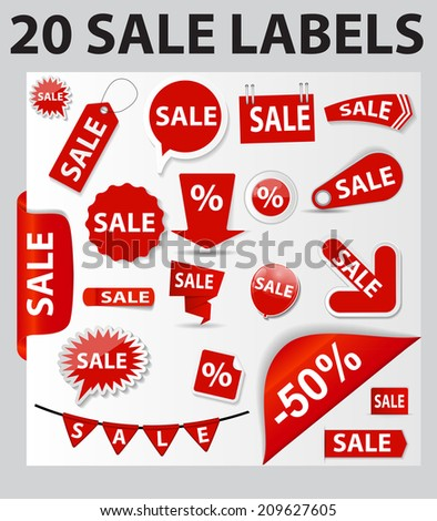 20 Sale Labels Set . Vector Illustration  - stock vector
