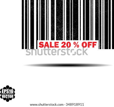 sale 20% off- black barcode grunge rubber stamp design isolated on white background. Vintage texture. Vector illustration