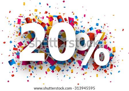 20% sale sign with colour confetti. Vector paper illustration. - stock vector