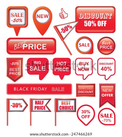 Sale Tags, Vector Illustration. - stock vector