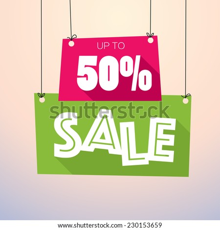 Sale Up to 50% - Vector Poster  - stock vector