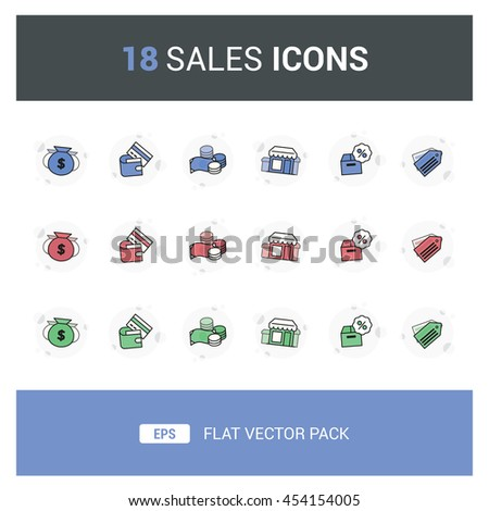 18 Sales Flat Vector Icon Pack that contain items such as card payment, cash, discount, money bags, store and others, can be use for website, app, leaflet, brochure, or as a graphic element.