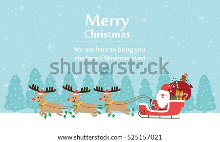 Santa Claus with Reindeer Sleigh. Vector illustration