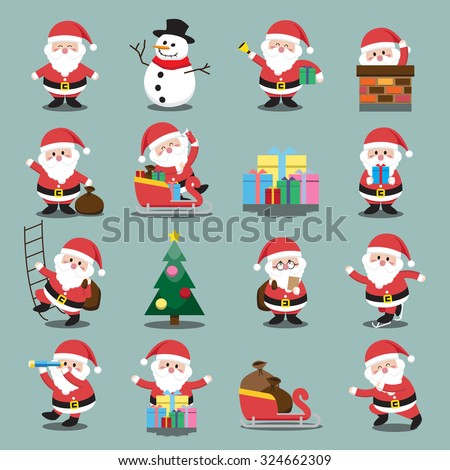 Santa Clauses set for christmas - stock vector