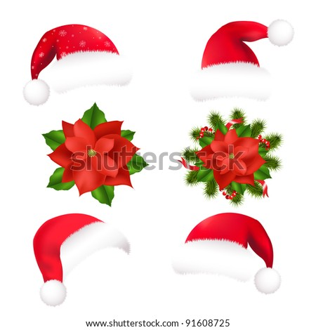 4 Santa Hat And 2 Poinsettia, Isolated On White Background, Vector Illustration - stock vector