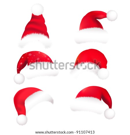 6 Santa's Hat, Isolated On White Background, Vector Illustration