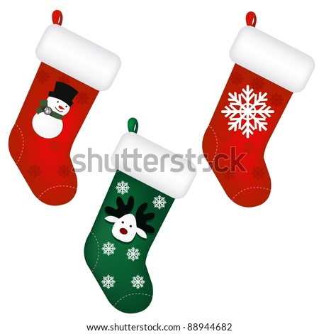3 Santa's Stocking, Isolated On White Background, Vector Illustration - stock vector