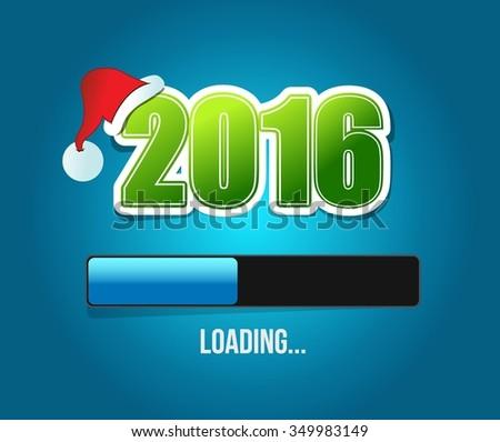 2016 santas christmas loading illustration design over a blue background - stock vector
