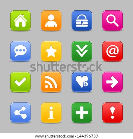 16 satin icon set with white basic sign. Rounded square button with drop shadow. Green, orange, blue, yellow, red shapes on light gray background. Vector illustration web design element save in 8 eps - stock vector