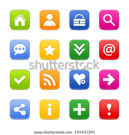 16 satin icon with basic sign. Rounded square web internet button with gray shadow. Green, orange, blue, yellow, red color on white background. Vector illustration design element 8 eps - stock vector
