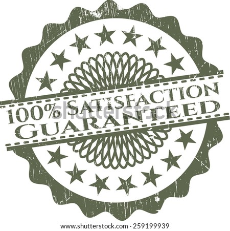 100% Satisfaction guaranteed green rubber isolated stamp  - stock vector