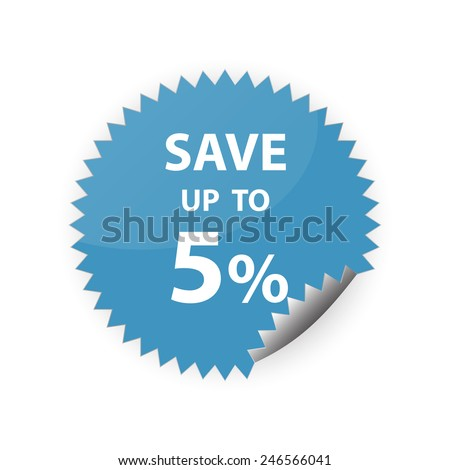 5% save up sticker vector icon