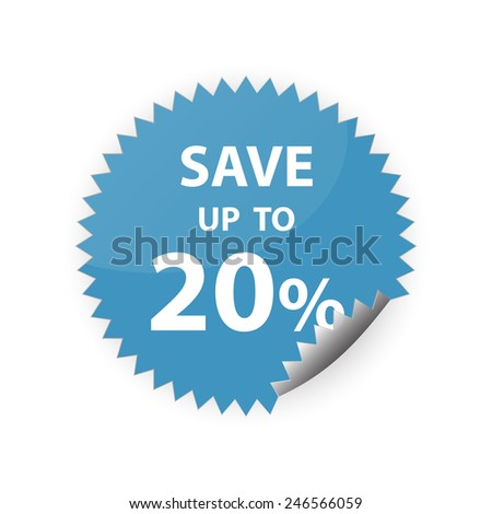 20% save up sticker vector icon - stock vector