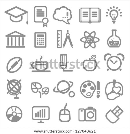 25 school and college icons. Vector education icons set ?2 - stock vector