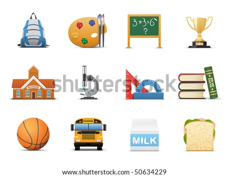 School And Education Icon Set - stock vector