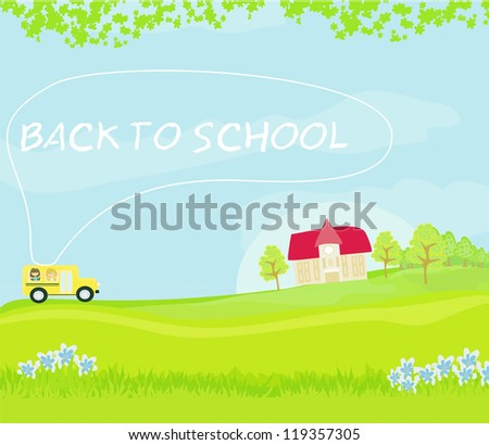 school bus heading to school with happy children