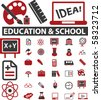 30 school & education signs. vector - stock photo