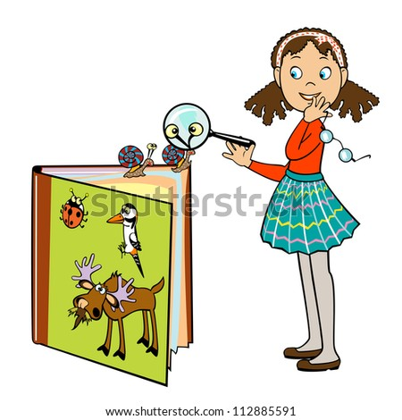 school girl standing by book of animals and holding magnifying glass,children vector illustration isolated on white background,nature lesson - stock vector