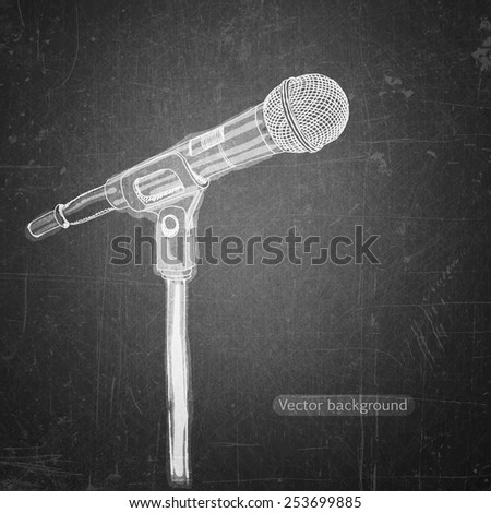 school sketches  microphone on blackboard, vector background - stock vector