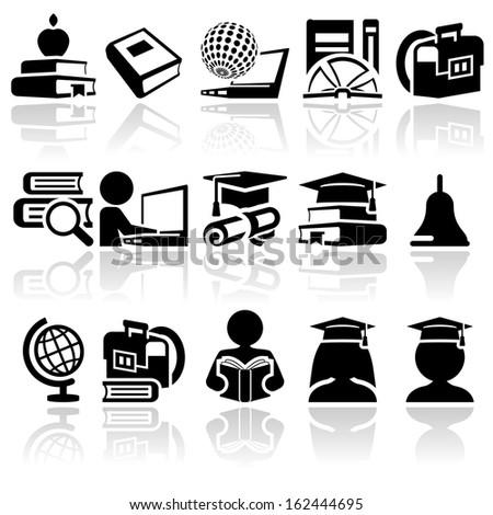 school vector icon set - stock vector