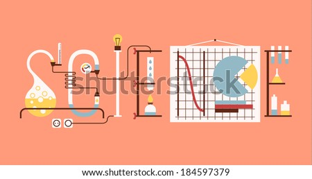 """""""Science"""" word made up from chemical tubes, graphs and racks. Flat graphic. - stock vector"""