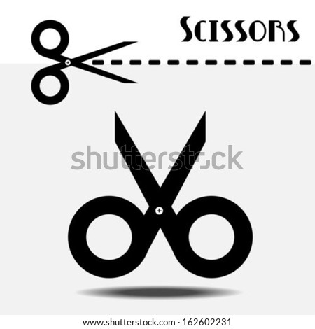 Scissors with cut line - stock vector