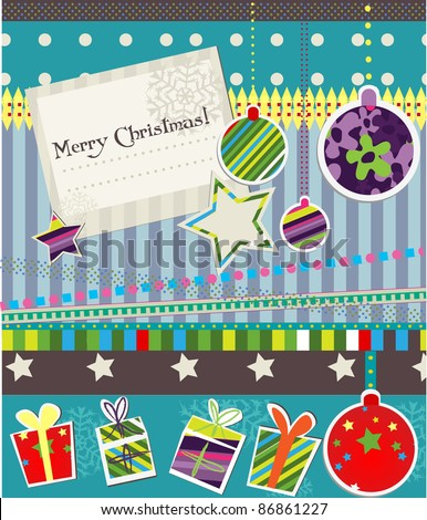 Scrap-booking elements for christmas card - stock vector