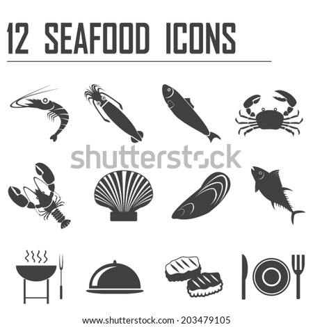 12 seafood icons - stock vector
